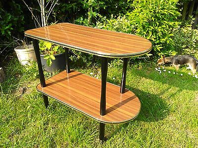 Vintage 60s 70s two tier Formica teak effect trolley on wheels retro gold bead