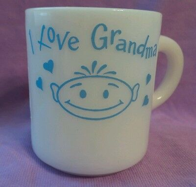 I Love Grandma Vintage White Milkglass Coffee Mug Cup Mothers Day Gift