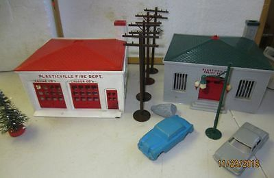 Plasticville Vintage Police Dept. Fire Dept. Telephone Poles and Cars