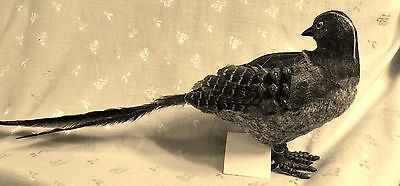 """NWT Artificial Stuffed Pheasant Covered in Real Feathers & Rabbit Fur 21"""" W"""
