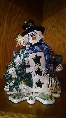 Heather Goldminc for Blue Sky Clayworks Hand Painted Snowman Pottery Collectible