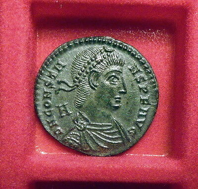 Exceptional Silvered Constans Galley AE2 Ancient Roman Imperial Coin