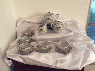 Lovely Vintage Japanese Eggshell hand painted tea set. 20 Pieces. Service For 5,