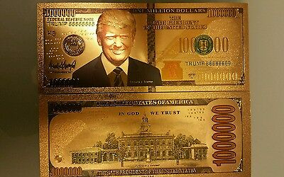 President Donald Trump $1000000 Gold Plated Bank Note Money