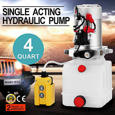 3 Quart Single Acting Hydraulic Pump Dump Trailer Control Kit 12 Volt Unit Pack