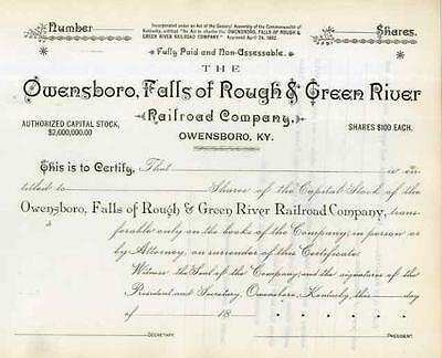 18__ Owensboro, Falls of Rough & Green River RR Stock Certificate