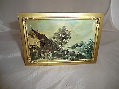 Old Decorative Metal Box With Lid Old English Countryside Theme