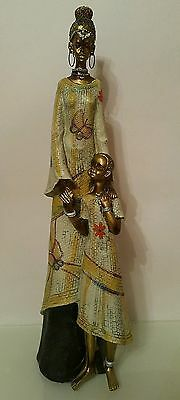 Large African Mother With Daughters  MASAI Resin Figurine Decorative - H: 33 cm