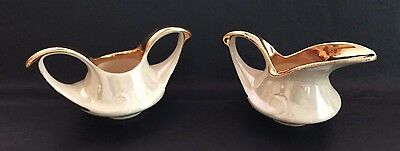 Vintage Pearl Co, Art Deco Hand Painted 22 K. Gold Trim Luster Sugar And Creamer