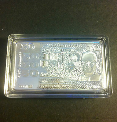 1 Troy OZ $50.00 (Old Note Series) Ingot Finished with 999 Fine Silver