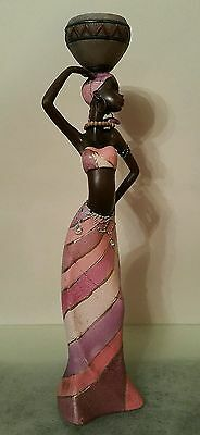 Large African Woman/Lady With Vase MASAI Resin Figurine Decorative - H: 30 cm