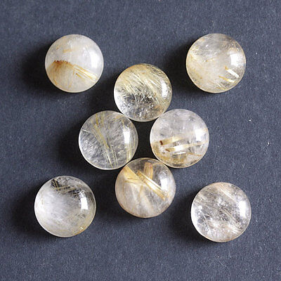 10MM Round Shape, Golden Rutile Calibrated Cabochons AG-225