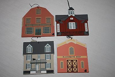1988 Cat's Meow Village Limited Edition Christmas Ornaments   Set of 4