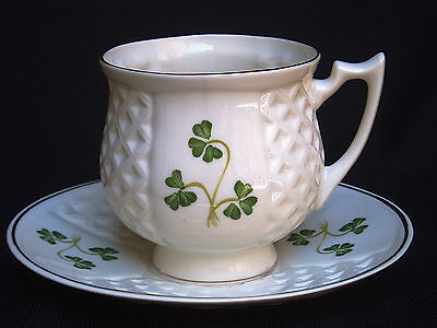 Donegal Parian by Belleek 'Shamrock' Cup & Saucer~NIB~MINTY~VHTF