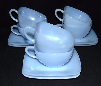 6 Anchor Hocking Fire King CHARM AZURITE BLUE  *CUPS & SAUCERS*