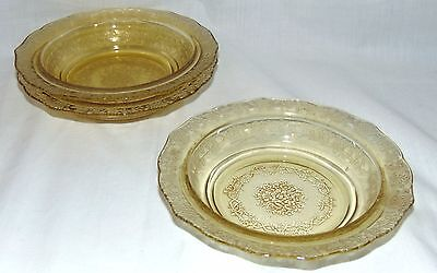 "3 Federal NORMANDIE AMBER *6 1/2"" CEREAL BOWLS*"
