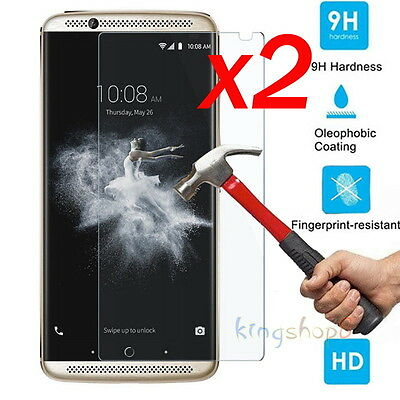 2Pcs 9H Premium Tempered Glass Screen Protector Film Guard For ZTE AXON 7 5.5""