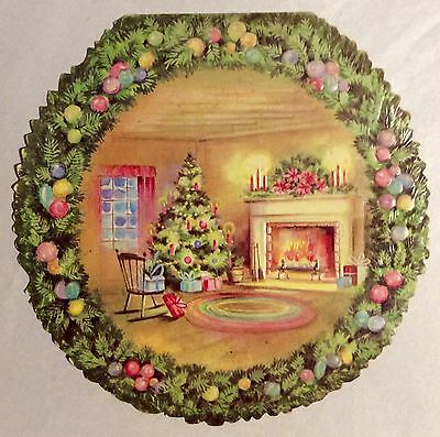 Gorgeous Wreath PINK Decorated Room Embossed 60s Vintage Christmas Greeting Card