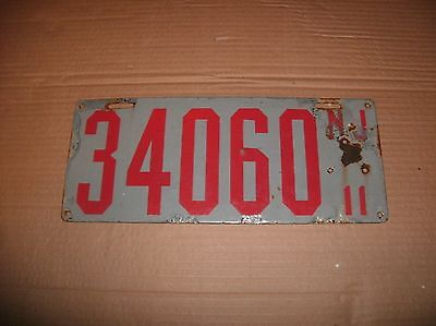 Porcelain New Jersey 1911 License Plate No. 34060