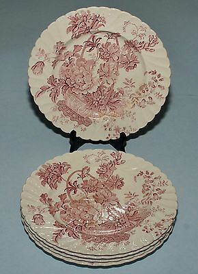 Royal Staffordshire Clarice Cliff RED Transferware CHARLOTTE 4 Dinner PLATES 10""