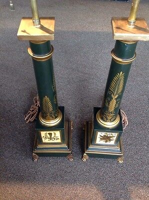 Vintage Pair Of French Neoclassical Style Green & Gold Tole Column Table Lamps
