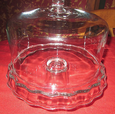 Southern Living at Home Cake Dome and Ruffled Cake Pedestal EUC