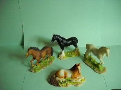"""Horse Figurines, 3"""", Hand Painted, Set of 4"""