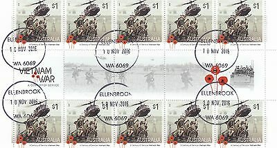 Australia - SCARCE 2016 VFU/CTO Vietnam War Gutter Block of 10 Stamps Lot 3
