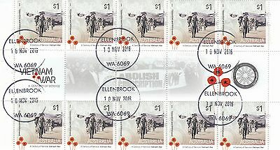 Australia - SCARCE 2016 VFU/CTO Vietnam War Gutter Block of 10 Stamps Lot 1