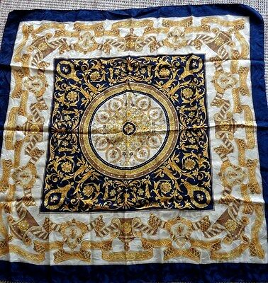 Vintage Large Italian blue and gold silk scarf with hand rolled edges
