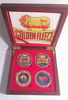 """Golden Fleece""  Boxed Set of 4 Col/Printed 999 24k Gold plated coins petrol,oil"