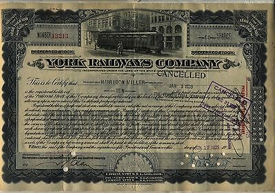 York Railways Company Stock Certificate Pennsylvania Railroad