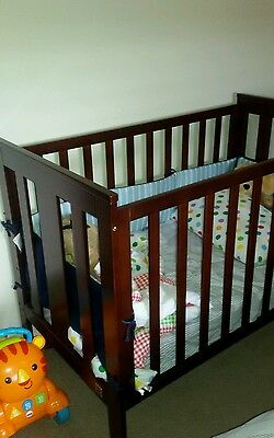Cot With Mattress And Baby Bumper  Solid Very Good Condition