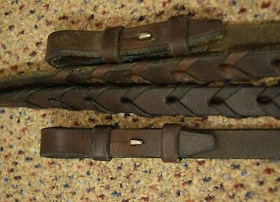 """Dark Brown Braided LEATHER English Style RIDING Reins 54"""""""