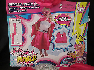 Barbie Princess Power Dress Up Costume - Size Small 3-5 Years - Brand New