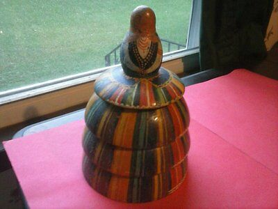antique hand painted wood woman shaped folk box w/lid early 1900s poland rare