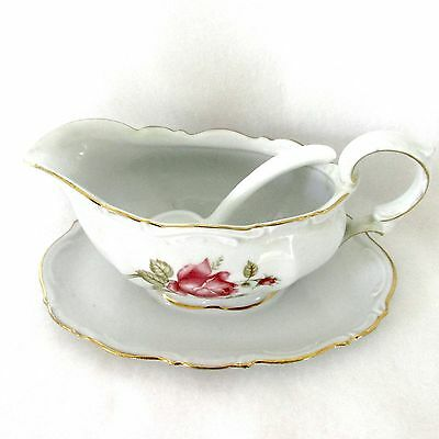 Mitterteich ~ June Rose ~ Gravy Boat With Attached Plate & Ladle
