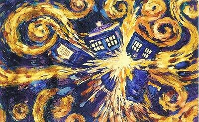 DOCTOR WHO EXPLODING TARDIS BY VAN GOGH - quality glossy A4 print