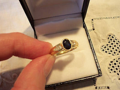 18ct Solid Yellow Gold Genuine Sapphire & Diamond Ring.18K.WB Jeweller.Size N1/2