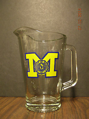 Glass  Beverage / Beer  Pitcher  -  University  Of  Michigan  -  Weighted  Base