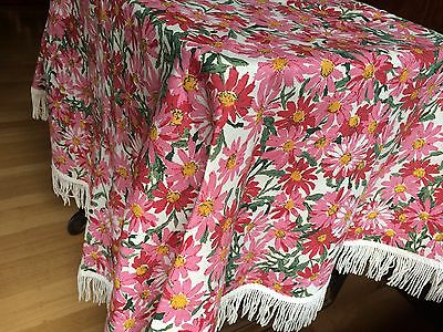 EUC! vtg Round TABLECLOTH Retro Fringed Floral Flower Power Groovy Mid Century