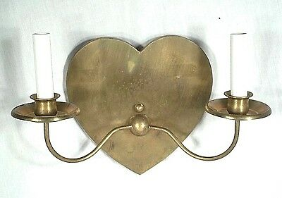 Vintage Mid Century Heart Back Double Arm Brass Sconce