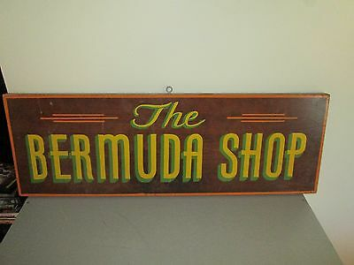 Vintage The Bermuda Shop Wood Advertising Sign Double Sided 34x15 Very Rare