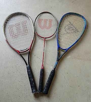 ( 2 )Wilson & ( 1 )Dunlop Racquets and Covers - Good Condition