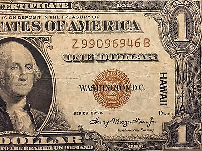 Emergency Issue 1935A Hawaii Silver Certificate Rare Z/b Block In Fine Condition