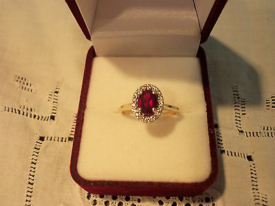 9ct Solid Yellow Gold 18 Diamonds, Created Ruby Ring.Antique Reproduction Design