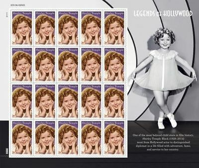 Us 2016 New Legends Of Hollywood Shirley Temple 20 Mnhvf Forever Stamp Sheet Nip