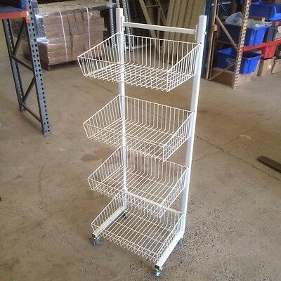 Wire Four Tier Stacker Basket Stand For Shop Retail Brand New White