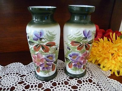 Antique Milk Glass Pair Of Floral Hand Painted Floral Vase