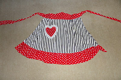 Cute Rockabilly Apron Red With Black Stripes